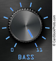 Bass level control - Black brushed metal bass control, with...