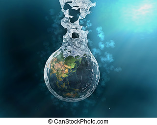 Earth splashing and air bubbles,underwater scene