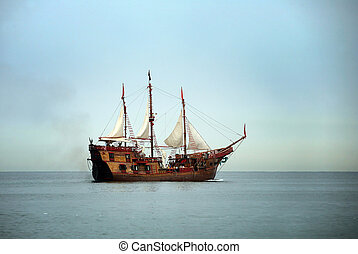 Sail boat - Old sailing ship in the ocean