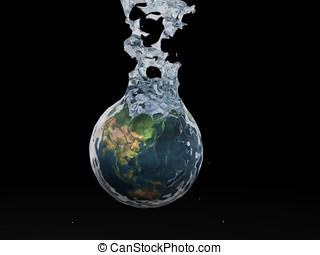 Earth splashing against black background