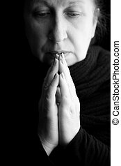 praying - woman praying or deep in thoughts, special black...