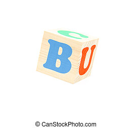 letter b - child brick with letter b, isolated on white...