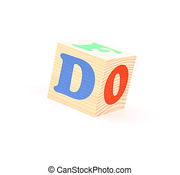 letter d - child brick with letter d, isolated on white...