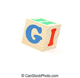 letter G - child brick with letter G, isolated on white...