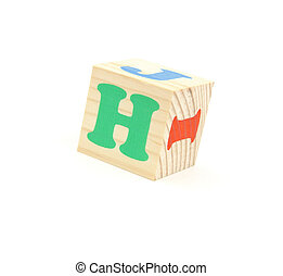 letter H - child brick with letter H, isolated on white...