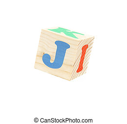 letter J - child brick with letter J, isolated on white...