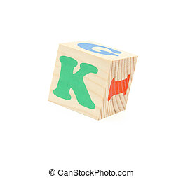 letter K - child brick with letter K, isolated on white...