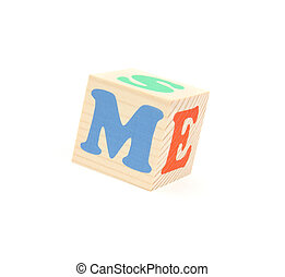 letter M - child brick with letter M, isolated on white...