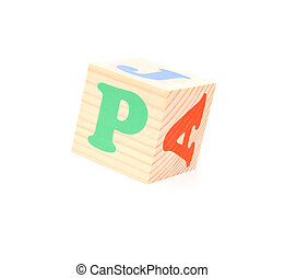 letter P - child brick with letter P, isolated on white...
