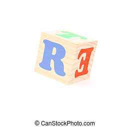 letter R - child brick with letter R, isolated on white...