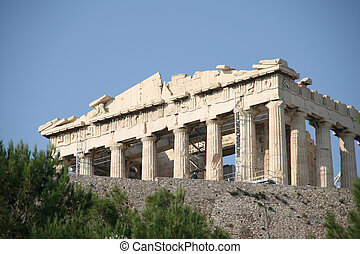 acropolis - parthenon above trees landmarks of athens greece