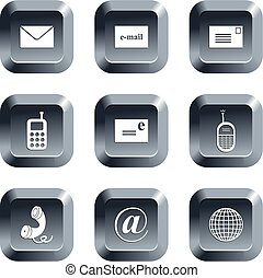 communication buttons - collection of communication icons...