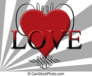 Love Heart Background - A Decorative Love themed red heart...