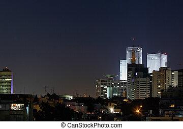 Tel Aviv at night, Tel Aviv\\\'s skyline, Israel.