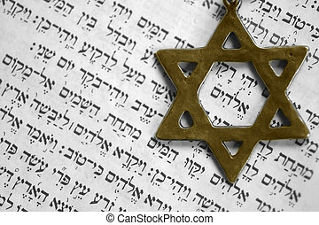 Old testament - Star of David over the first page of the old...