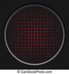 Red Radar Grid - A circular radar grid background over black...