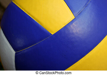 volley ball - close up of a volley ball yellow and blue...