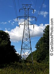 Powerlines - A steel powerline support structure.