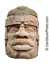 ancient olmec head isolated on white background