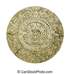 aztec calendar - ancient aztec calendar isolated on white...