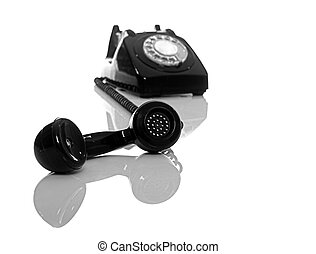 Vintage Phone - Vintage phone on a white background with...