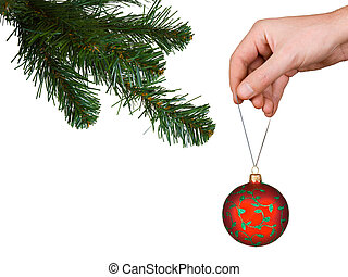 Cristmas tree, hand and ball, isolated on white background