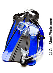 Snorkeling - An isolated shot of snorkeling equipment and...
