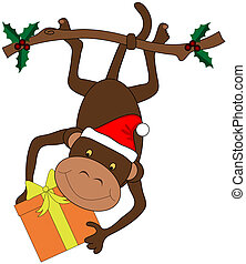 Christmas Monkey - Monkey holding gift hanging from a...