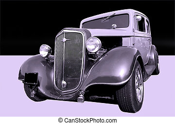Old Timer - Vintage car isolated on violet and black...