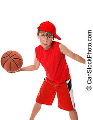 Active basketball - An active boy plays with a basketball