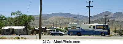 SUV and RV in the desert - nevada