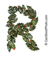 Holly With Berry Letter R - Holly Leaves with berry\\\'s in...