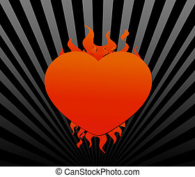 Flaming Heart - Red Flaming heart against a black and gray...