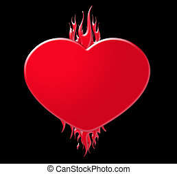 Flaming Heart - A flaming red heart on a black background.
