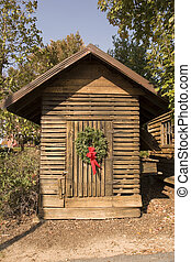 Christmas Wreath on Old Shack - A christmas wreath on an old...