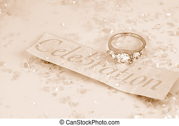 engagement ring with associated word celebration surrounded...