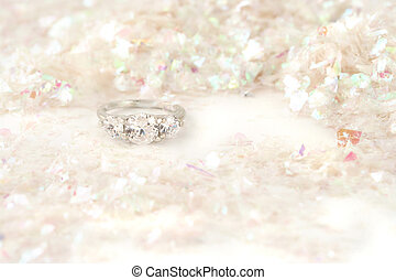 engagement ring - sparkling engagement ring surrounded by...