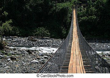 Swingbridge over River - A swingbridge over a river in...