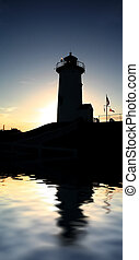 Nobska Silhouette Reflect - Nobska Lighthouse silhouetted,...