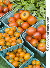 Tomatoes at farmers market, Seattle, Wa, USA