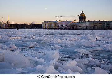 Neva - View to Neva with an ice and embankment in...