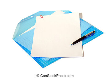 Folder with documents, a white leaf,white background -...