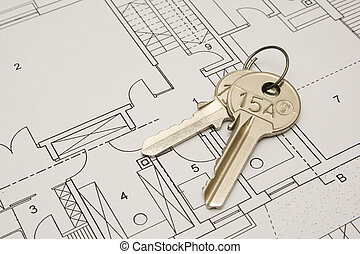 Keys on the architectural plan of private house