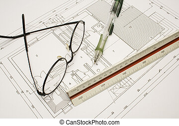 A House planing - Drawing equipment on architectural plane