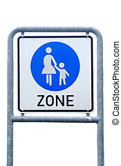 begin of pedestrian zone - a traffic board shows the begin...