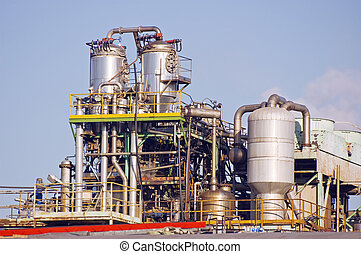 Industrial plant with pipes and platforms