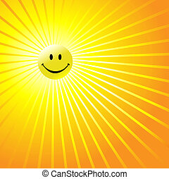 Happy Radiant Smiley Face - A shiny yellow smiley happy face...