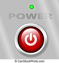 Power Button ON Metal Background
