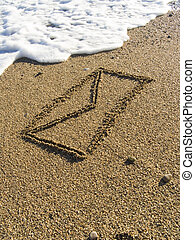 envelope on wet sea sand - The envelope with the letter is...