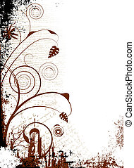 gothic script - floral abstract background in black and...